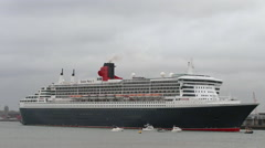 Stock Video Footage of Cruise liner 'Queen Mary 2' departs Southampton
