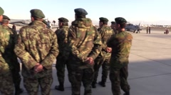 AFGHANISTAN, JANUARY 2016, Afghan Soldiers In Formation Airbase Background Stock Footage