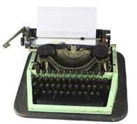 old cyrillic typewriter isolated on white background - stock photo