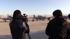 AFGHANISTAN, JANUARY 2016, Reporters Film A-29 Super Tucano Aircrafts Kabul Stock Footage