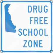 Road sign used in the US state of Delaware - drug-free school zone sign Stock Illustration