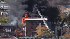 Building on fire Stock Footage