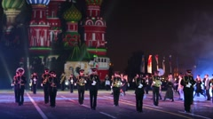 Band of the Moscow Suvorov Military Music College performs. Stock Footage
