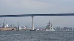 CORONADO CALIFORNIA USA, JANUARY 2016, US Navy USS Mobile Bay Drives Under Stock Footage