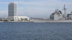 CORONADO CALIFORNIA USA, JANUARY 2016, US Navy USS Mobile Bay Drives To Harbour Stock Footage