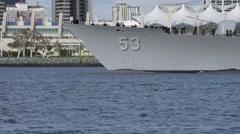 CORONADO CALIFORNIA USA, JANUARY 2016, Close Up US Navy USS Mobile Bay Drives To Stock Footage