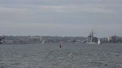 CORONADO CALIFORNIA USA, JANUARY 2016, Long Shot US Navy USS Mobile Bay Drives Stock Footage