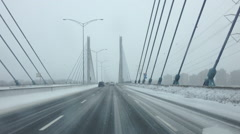 Driving in Quebec winter Stock Footage