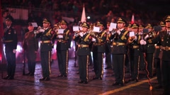 """China performs during the """"Spasskaya Tower"""" Military Music Festival. Stock Footage"""