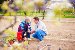 Senior woman and man in their garden planting seeds - stock photo