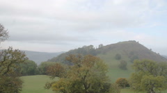 The beautiful Welsh countryside with a ruin castle Dinas Bran Stock Footage