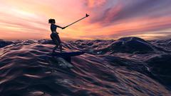 Surfer Girl With Selfie Stick At Sunset or Sunrise Stock Illustration
