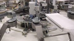 Factory of knitted underwear, production line. Stock Footage
