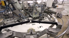 Factory of knitted underwear, production line Stock Footage