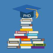 Hard and Long Way to the Doctor of Philosophy Degree PHD - stock illustration