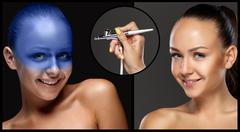 The collage of makeup for model with aerograph - stock photo