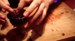 Preparing hookah in a restaurant Stock Footage