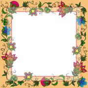 Postcard with wreath of colorful flowers - stock illustration