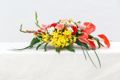 Flower bouquet on table Stock Photos
