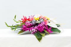 Fower bouquet on table Stock Photos