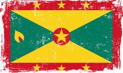 Grenada Vector Flag on White - stock illustration