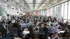 Wide view: Israeli companies exhibiting their goods on the trading floor - stock footage