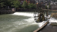 Traditional water wheel in Fenghuang, China Stock Footage