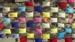 Colorful Umbrellas in Famous Beach in Brazil Stock Footage