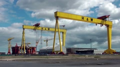 Belfast Samson and Goliath gantry cranes shipbuilding Stock Footage