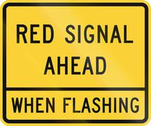 Road sign used in the US state of Delaware - Red signal ahead Stock Illustration