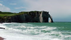 Cliffs waves movement Etretat France Stock Footage