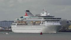 Cruise liner 'Balmoral' departs Southampton for the Norwegian Fjords Stock Footage
