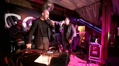 Vakhtang and Andrey Grizz-lee perform on a stage. Stock Footage