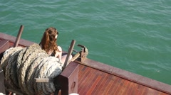 Girl on a boat, from above in Slow motion Stock Footage