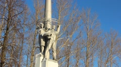 Monument to cosmonauts in the city of Rybinsk in Russia. - stock footage