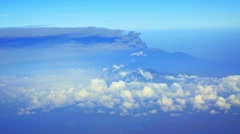 Aerial View of Smoke and Ash from a Indonesian Raung Volcano. FullHD video - stock footage