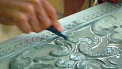 Making stone ornament in the workshop. Cambodia Stock Footage