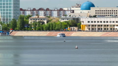 Astana, Kazakhstan. Pleasure boat on the river Ishim timelapse hyperlapse in Stock Footage