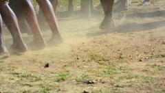 Aborigines dancing in the dust. Myanmar (Burma). Stock Footage
