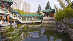 Decorative Fountains and Pond of a Buddhist Temple's Garden Courtyard Stock Footage