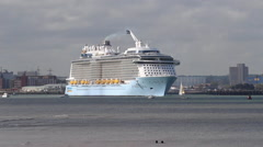 Cruise liner 'Anthem of the Seas', departs for the Mediterranean. Stock Footage