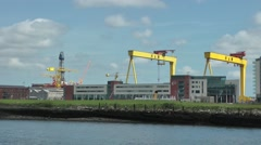 Samson and Goliath gantry cranes River Lagan Belfast Stock Footage