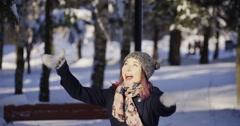 Beauty Winter Girl Stock Footage