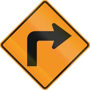 Temporary road control version - Right turn - stock illustration
