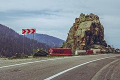 Warning triple chevron sign - stock photo