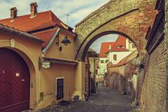 Backstreet view, Sibiu, Romania Stock Photos