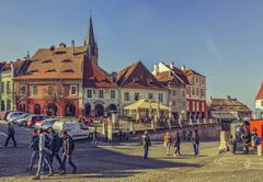 Crowded Small Square, Sibiu, Romania - stock photo
