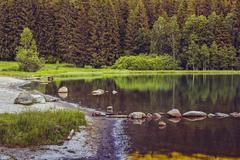 Peaceful lake scenery Stock Photos