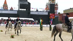 Spanish Royal Andalusia riders perform. Stock Footage