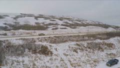 Aerial Shot Road Truck Driving Traffic Snow Field Hill Trees Winter Drone Stock Footage